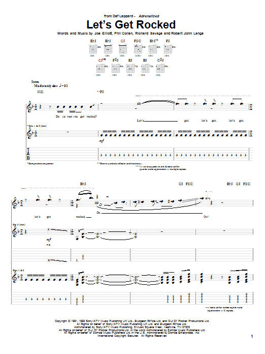 Let's Get Rocked (Guitar Tab)