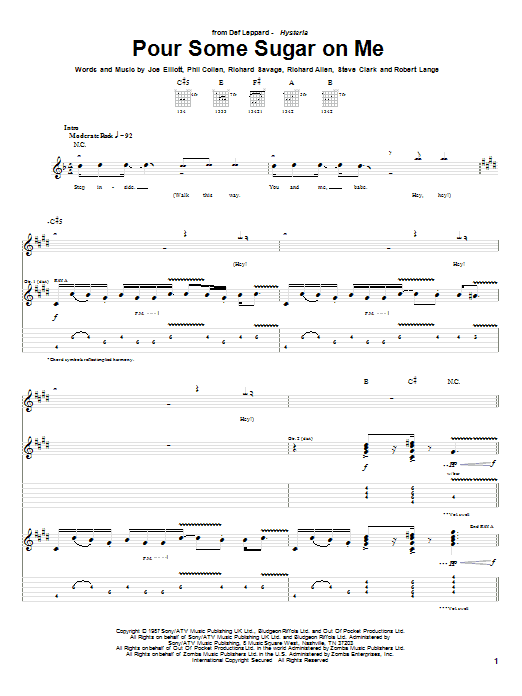 Tablature guitare Pour Some Sugar On Me de Def Leppard - Tablature Guitare