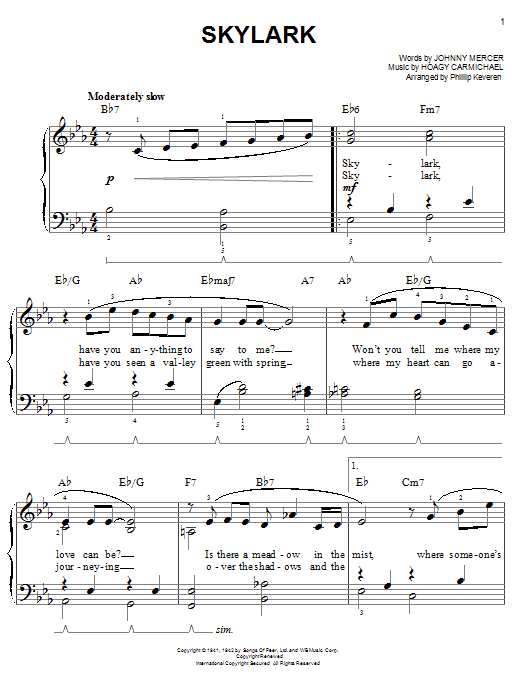 Partition piano Skylark de Johnny Mercer - Piano Facile