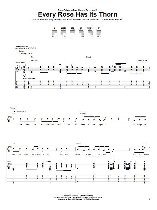 Tablature guitare Every Rose Has Its Thorn de Poison - Tablature Guitare