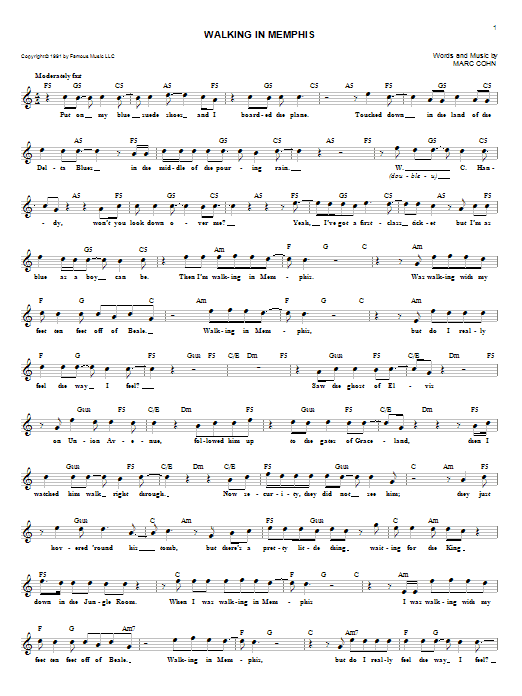 Walking In Memphis (Lead Sheet / Fake Book)