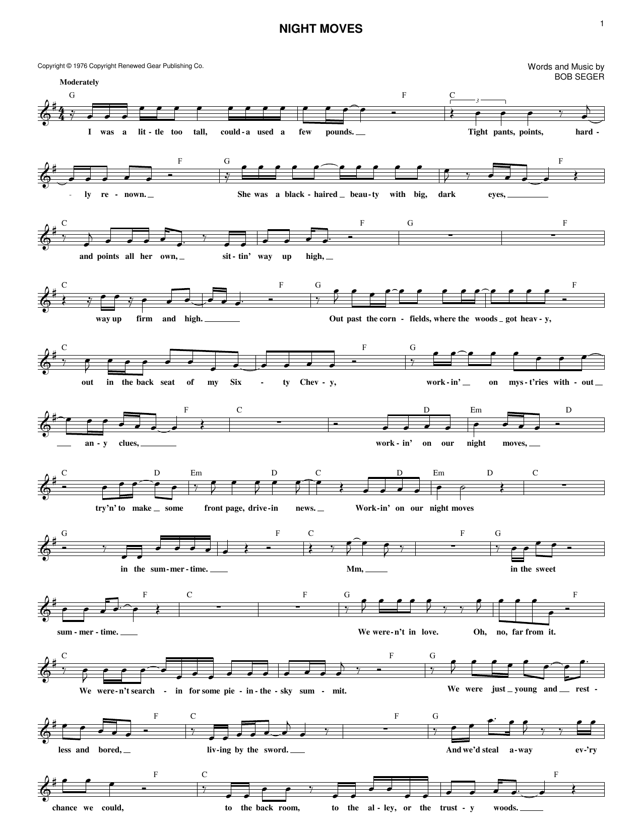 Night Moves (Lead Sheet / Fake Book)