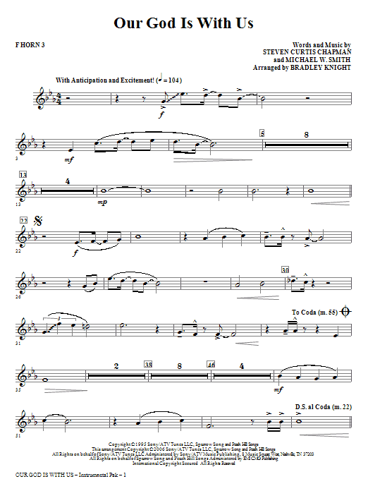Our God Is With Us - F Horn 3 Sheet Music