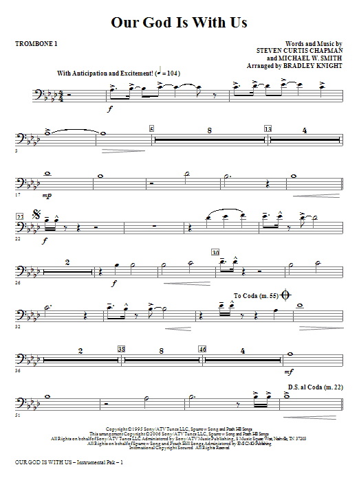 Our God Is With Us - Trombone 1 Sheet Music