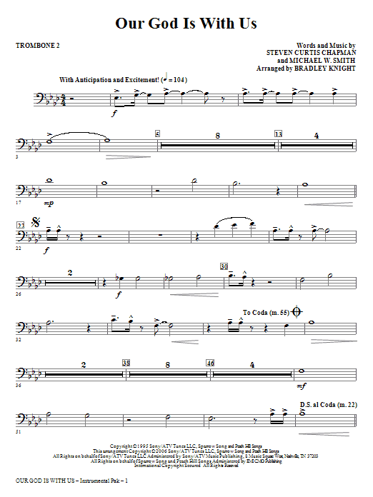 Our God Is With Us - Trombone 2 Sheet Music