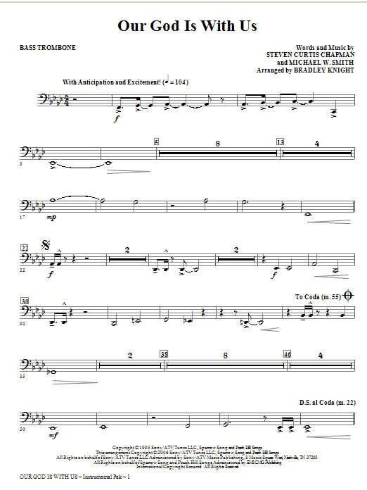 Our God Is With Us - Bass Trombone Sheet Music