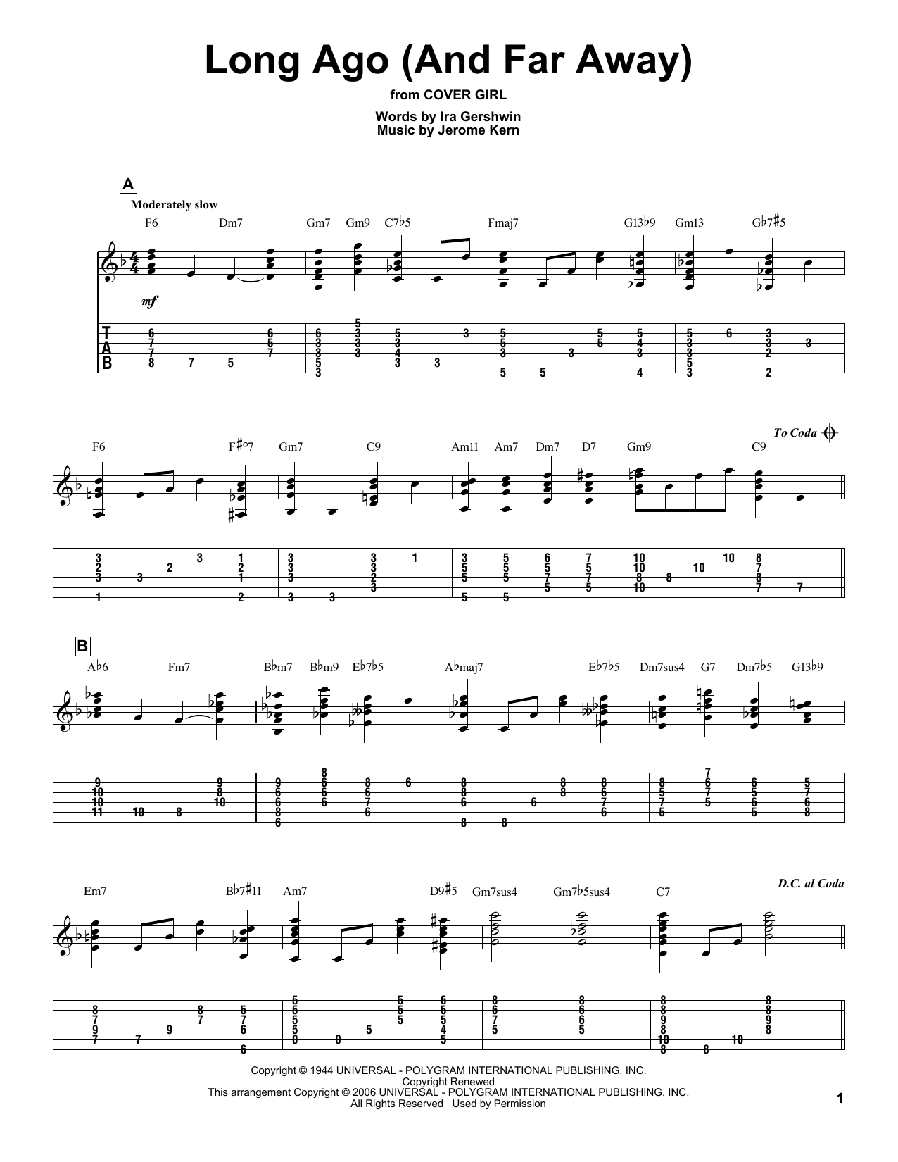 Tablature guitare Long Ago (And Far Away) de Jerome Kern - Tablature Guitare