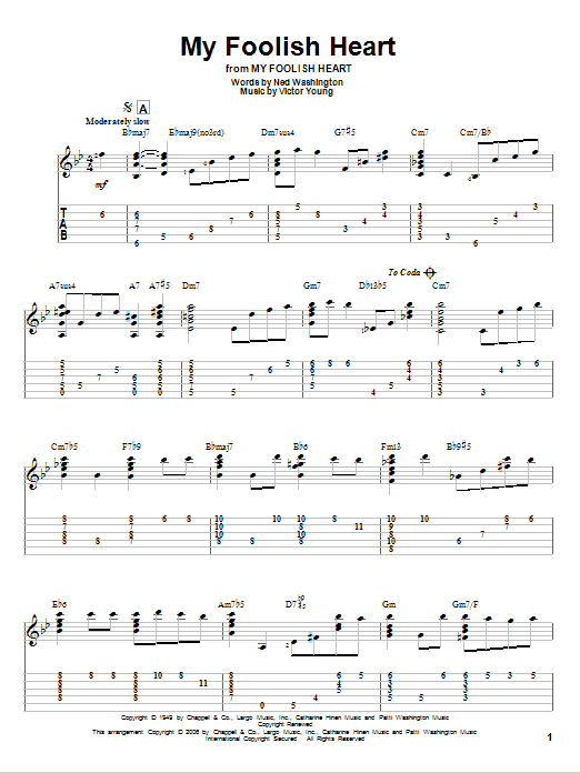 Tablature guitare My Foolish Heart de Ned Washington - Tablature Guitare
