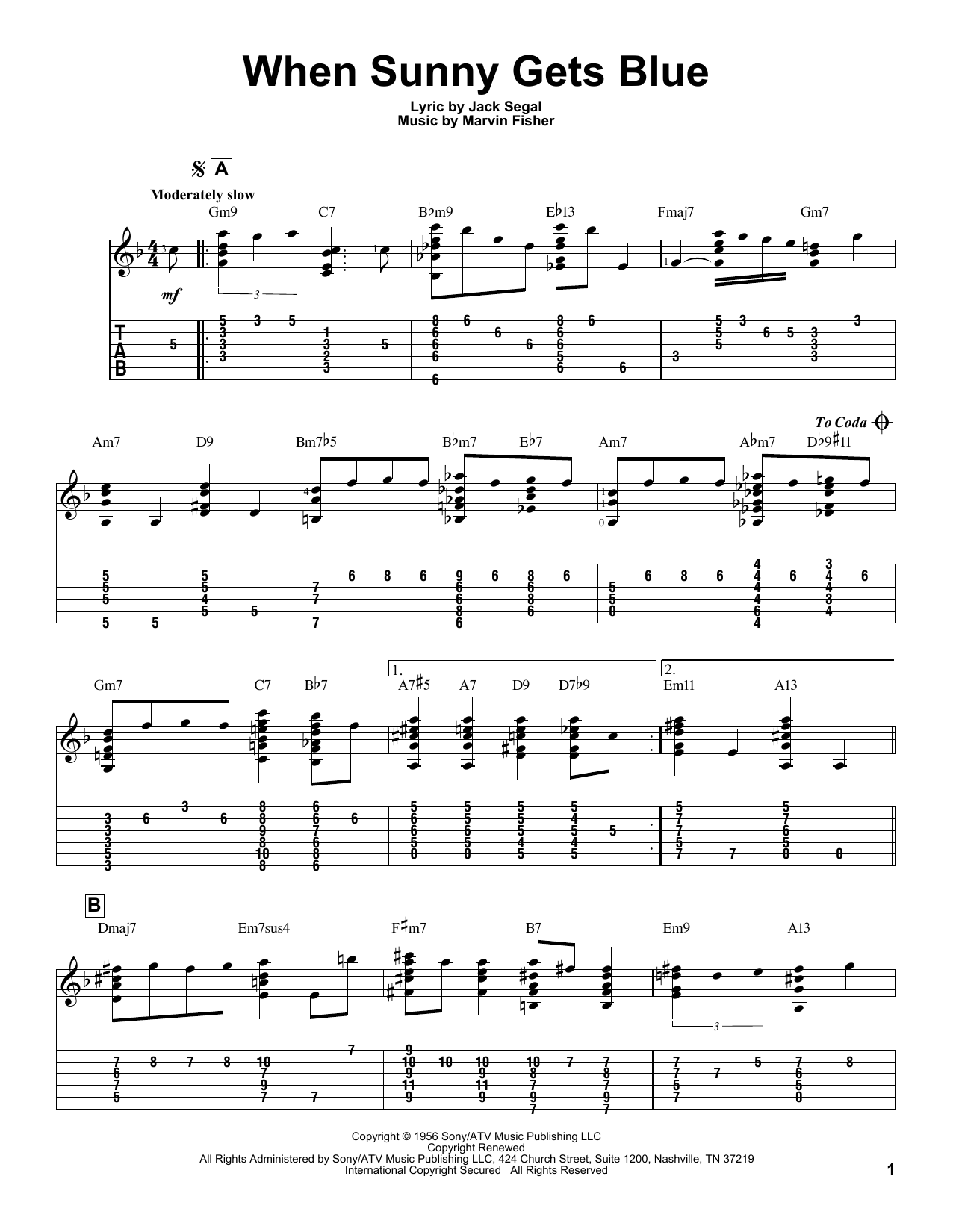 Tablature guitare When Sunny Gets Blue de Jack Segal - Tablature Guitare