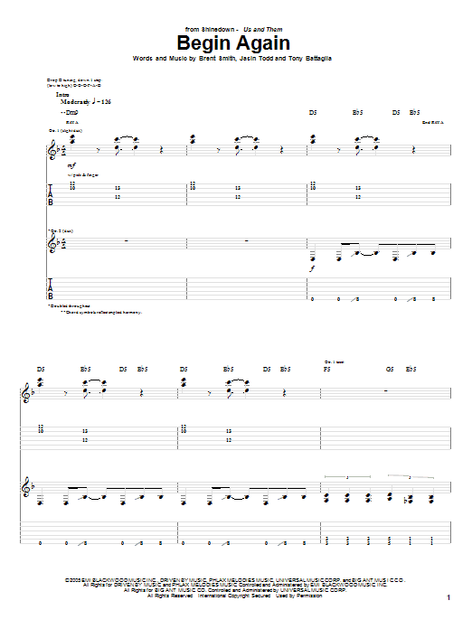 Tablature guitare Begin Again de Shinedown - Tablature Guitare