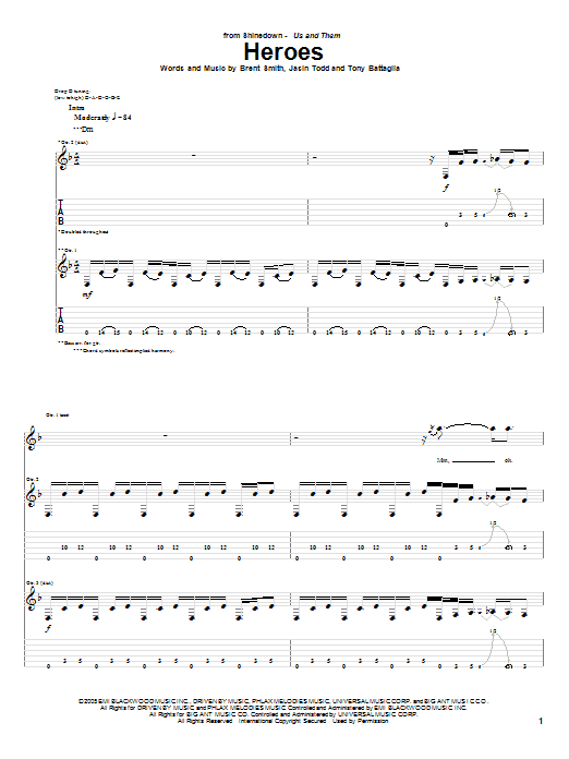 Tablature guitare Heroes de Shinedown - Tablature Guitare