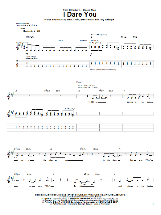 Tablature guitare I Dare You de Shinedown - Tablature Guitare