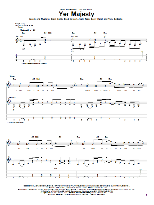 Tablature guitare Yer Majesty de Shinedown - Tablature Guitare