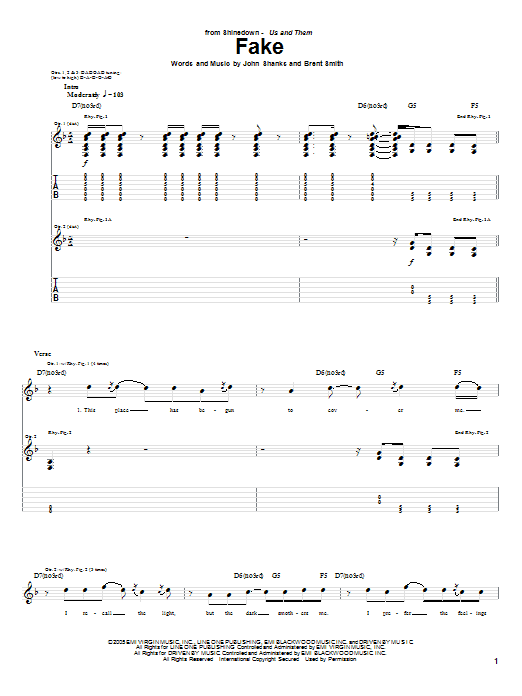 Tablature guitare Fake de Shinedown - Tablature Guitare
