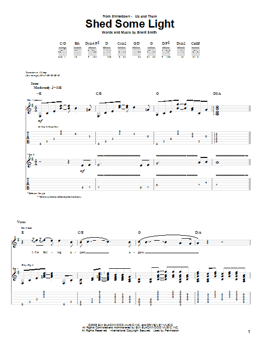 Tablature guitare Shed Some Light de Shinedown - Tablature Guitare
