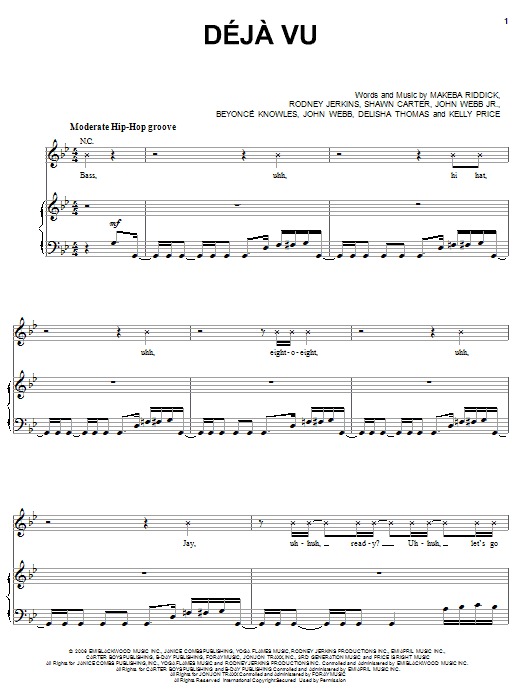 Deja Vu (feat. Jay-Z) Sheet Music
