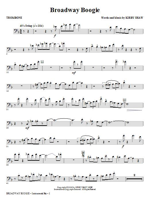 Broadway Boogie - Trombone (Choir Instrumental Pak)