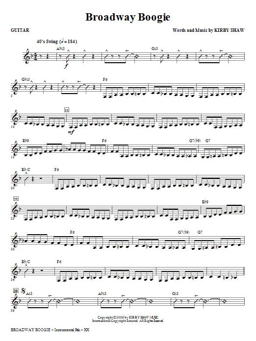 Broadway Boogie - Guitar Sheet Music