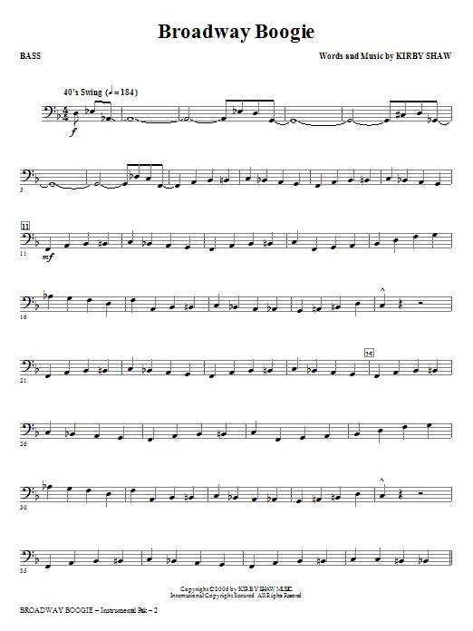 Broadway Boogie - Bass (Choir Instrumental Pak)