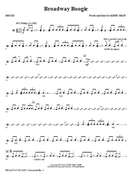 Broadway Boogie - Drums (Choir Instrumental Pak)