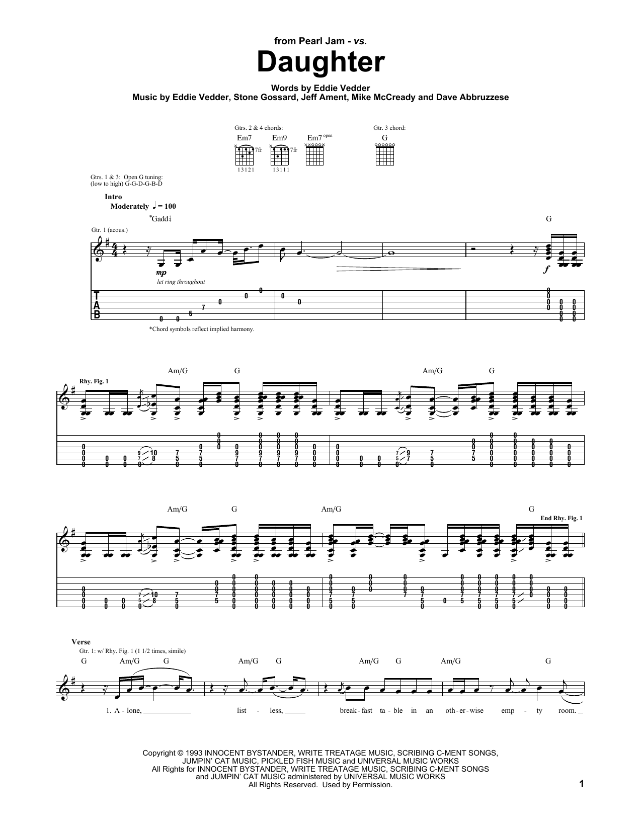 Daughter Sheet Music