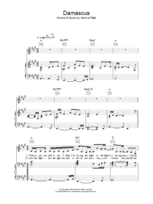 Damascus Sheet Music