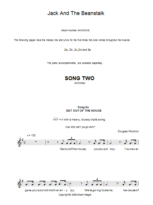 Song 2 (from Jack And The Beanstalk) Sheet Music