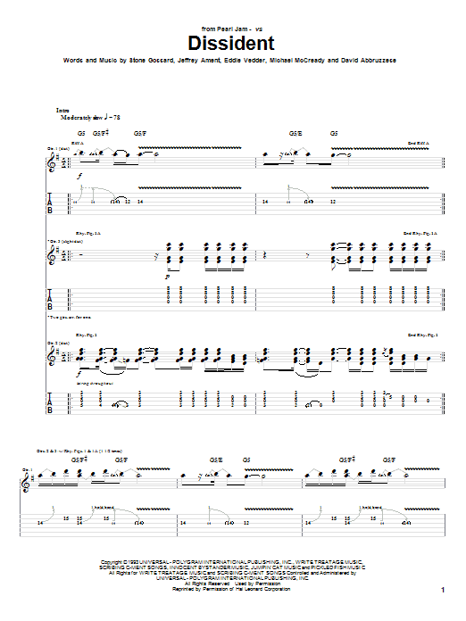 Tablature guitare Dissident de Pearl Jam - Tablature Guitare