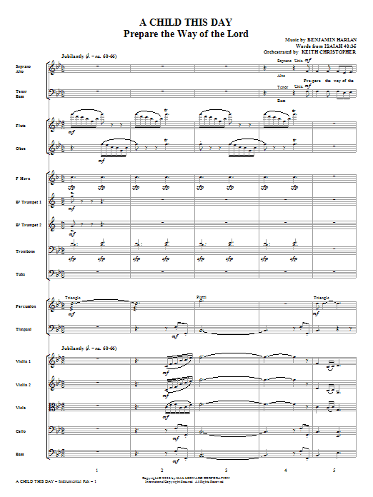 A Child This Day (complete set of parts) sheet music for orchestra/band (Orchestra) by Benjamin Harlan and Miscellaneous. Score Image Preview.