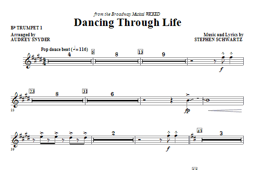 Dancing Through Life (complete set of parts) sheet music for orchestra/band (Special) by Audrey Snyder and Stephen Schwartz. Score Image Preview.