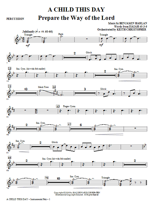 A Child This Day - Percussion Sheet Music