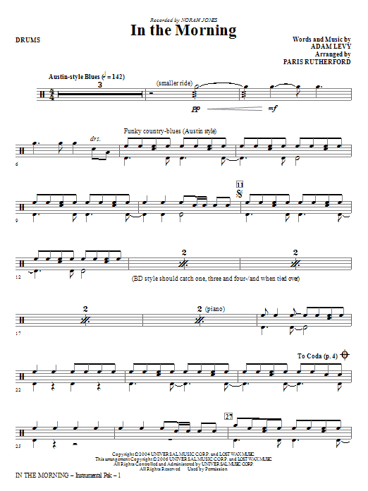 In The Morning - Drums Sheet Music