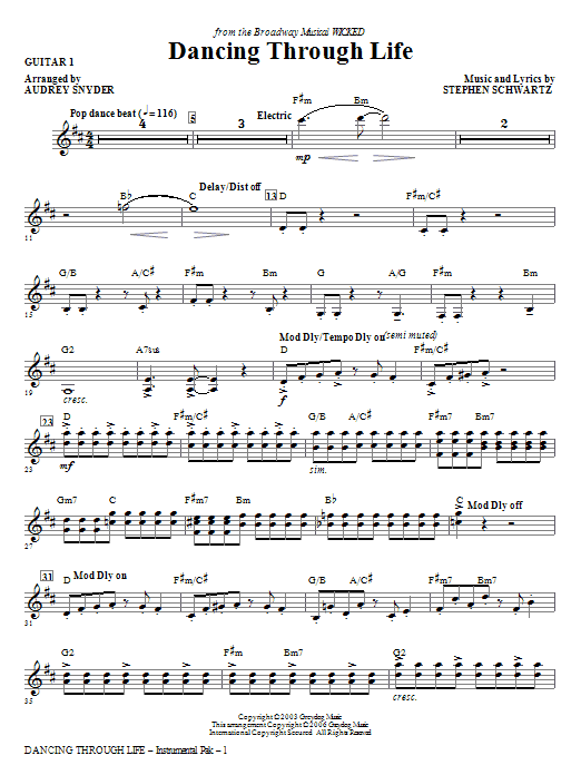 Dancing Through Life - Guitar 1 (Choir Instrumental Pak)