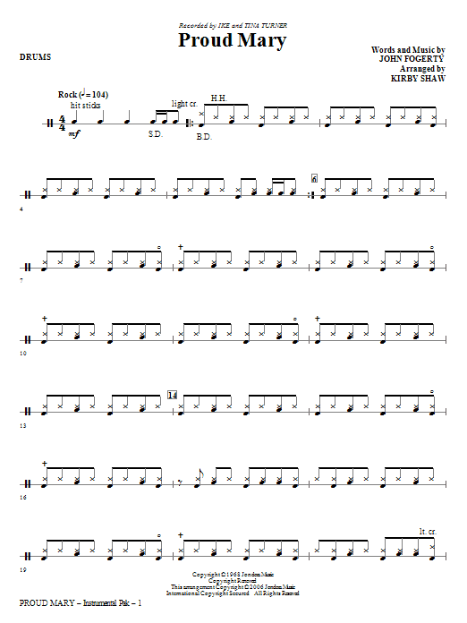 Proud Mary (arr. Kirby Shaw) - Drums (Choir Instrumental Pak)