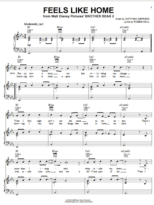 Partition piano Feels Like Home de Melissa Etheridge - Piano Voix Guitare (Mélodie Main Droite)