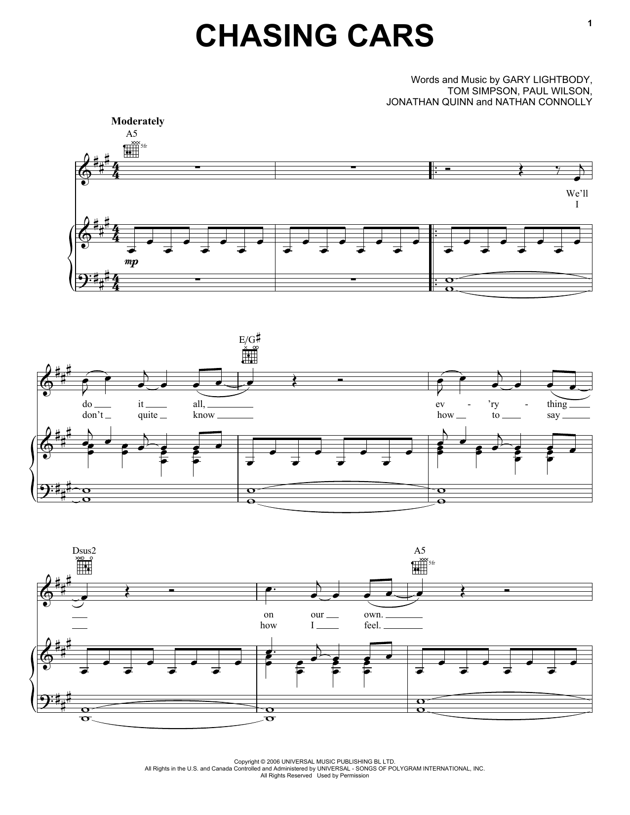 Chasing Cars Sheet Music By Snow Patrol (Piano, Vocal