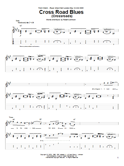 Tablature guitare Cross Road Blues (Crossroads) de Cream - Tablature Guitare