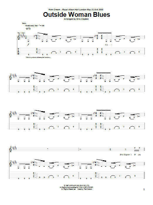 Outside Woman Blues (Guitar Tab)