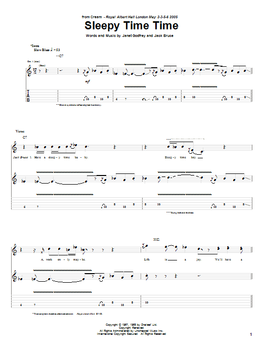 Tablature guitare Sleepy Time Time de Cream - Tablature Guitare