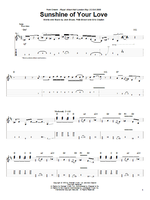 Tablature guitare Sunshine Of Your Love de Cream - Tablature Guitare