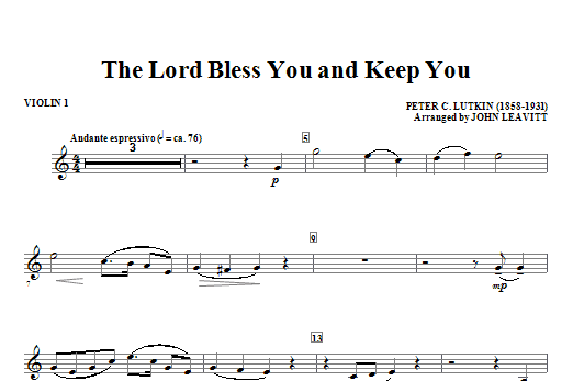 The Lord Bless You And Keep You - Violin 1 Sheet Music