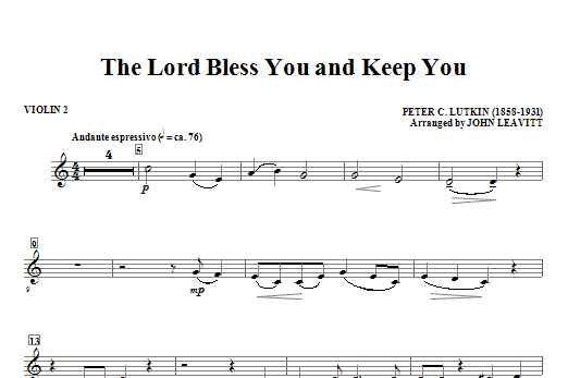 The Lord Bless You And Keep You - Violin 2 Sheet Music