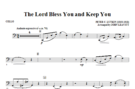 The Lord Bless You And Keep You - Cello Sheet Music