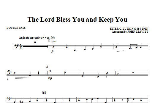 The Lord Bless You And Keep You - Double Bass Sheet Music