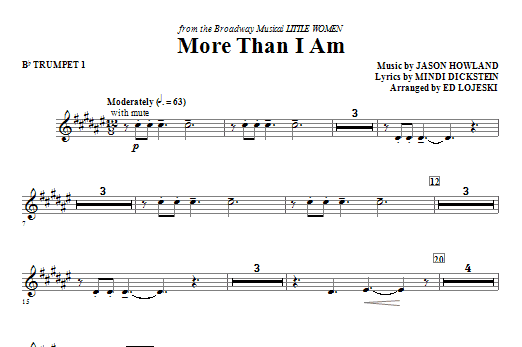 More Than I Am (complete set of parts) sheet music for orchestra/band (chamber ensemble) by Ed Lojeski, Jason Howland and Mindi Dickstein. Score Image Preview.