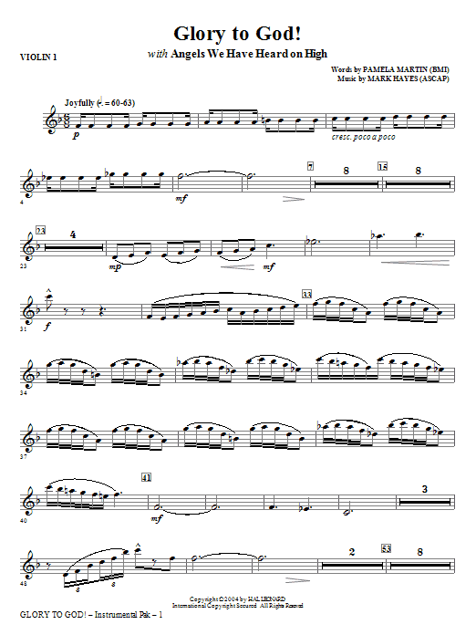 Glory to God! - Violin 1 Sheet Music