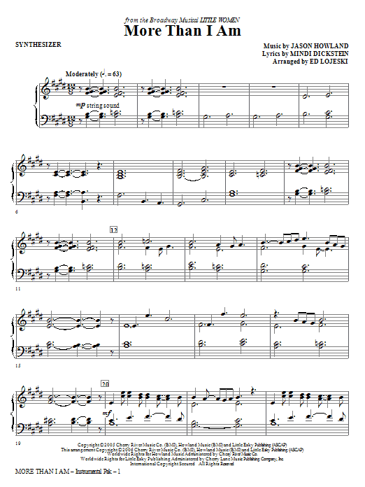 More Than I Am - Synthesizer Sheet Music