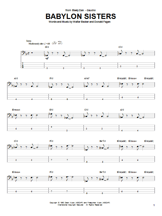 Tablature guitare Babylon Sisters de Steely Dan - Tablature Basse