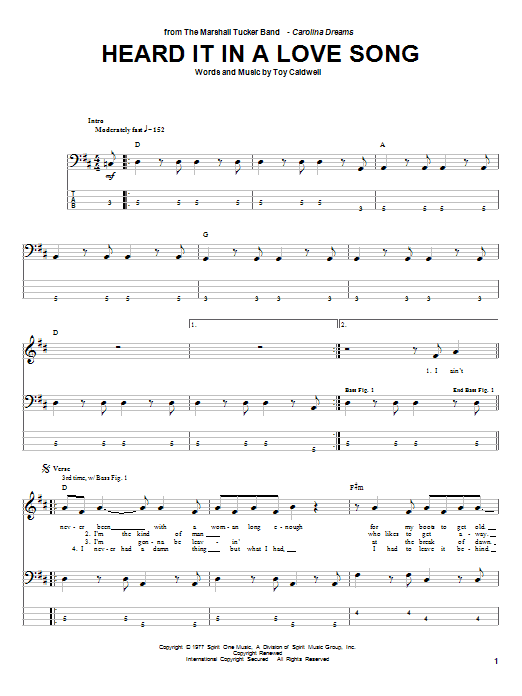 Heard It In A Love Song Sheet Music Direct