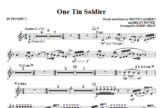 One Tin Soldier - Bb Trumpet 2 Sheet Music